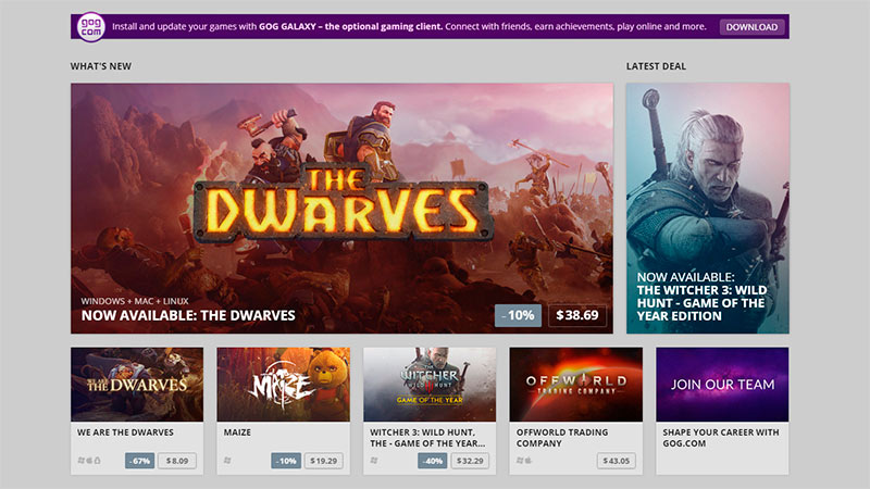 Tienda de videojuegos clásicos GOG